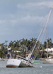 A sailboat capsized at Watson Island in the Hurricane Irma aftermath on Monday, September 11, 2017 in Miami. Photo by David Santiago/Miami Herald/TNS/ABACAPRESS.COM