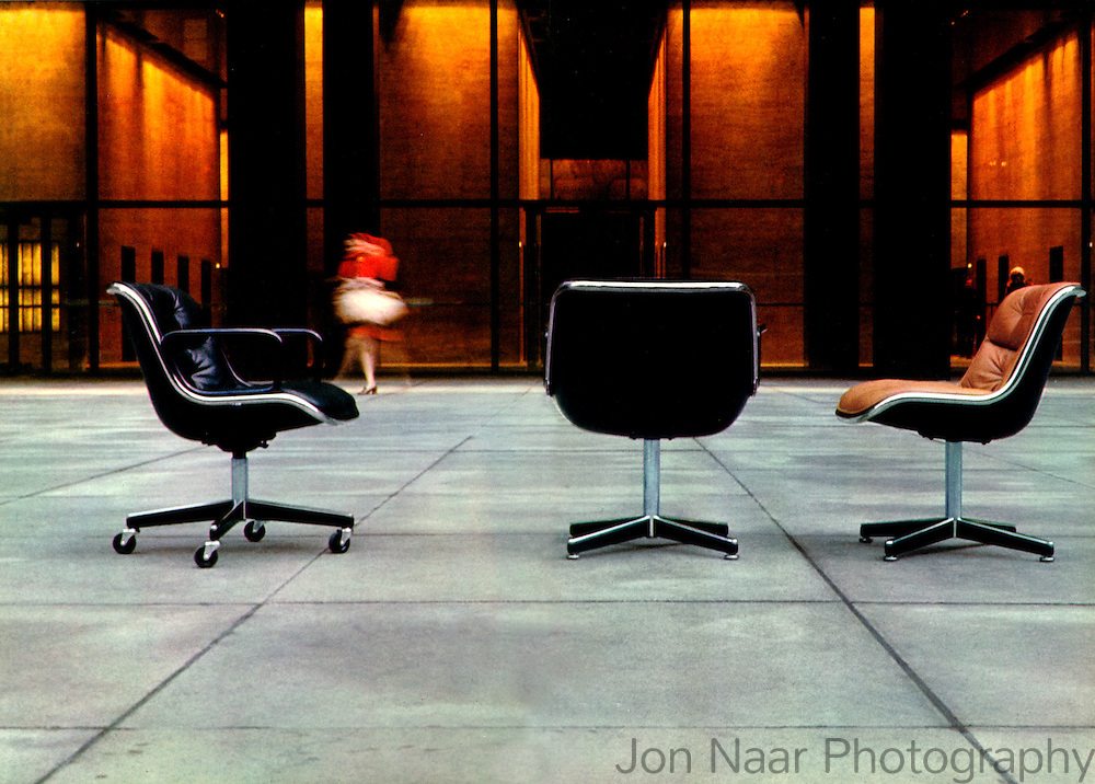 Pollock chairs in plaza in front of Seagram Building.  Taken in 1970 with Mamiya RZ on 6x7 cm format.