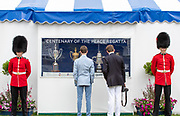 Henley on Thames, England, United Kingdom, Sunday, 07.07.19, Visitors view the Trophies, relevant to the King's Cup, celebrating the Centenary, of the Peace Regatta, Henley Royal Regatta,  Henley Reach, [©Karon PHILLIPS/Intersport Images]<br /> <br /> 10:33:19 1919 - 2019, Royal Henley Peace Regatta Centenary,