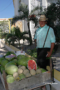 Mennonite farmer from Orange Walk peddles melons on street in San Pedro, Ambergris Caye, Belize, Central America