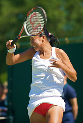 LONDON, ENGLAND - Tuesday, June 23, 2009: Anne Keothavong (GBR) wearing red knickers during the Ladies' Singles 1st Round match on day two of the Wimbledon Lawn Tennis Championships at the All England Lawn Tennis and Croquet Club. (Pic by David Rawcliffe/Propaganda)