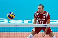 Poland's Pawel Zatorski looks to the ball while volleyball final match between Brazil and Poland during the 2014 FIVB Volleyball World Championships at Spodek Hall in Katowice on September 21, 2014.<br /> <br /> Poland, Katowice, September 21, 2014<br /> <br /> For editorial use only. Any commercial or promotional use requires permission.<br /> <br /> Mandatory credit:<br /> Photo by © Adam Nurkiewicz / Mediasport