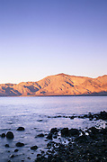 Evening alpenglow on desert coastal mountains, Bahia de los Angeles, Baja California, Mexico
