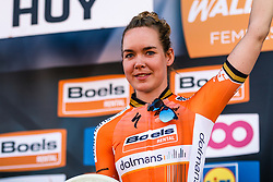 Podium with winner VAN DER BREGGEN Anna of Boels - Dolmans Cycling Team after the 2018 La Flèche Wallonne Fèminine race, Huy, Belgium, 18 April 2018, Photo by Thomas van Bracht / PelotonPhotos.com | All photos usage must carry mandatory copyright credit (Peloton Photos | Thomas van Bracht)