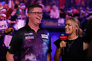 Ted Evetts and Sky Sports presenter Laura Woods during the PDC World Championship darts at Alexandra Palace, London, United Kingdom on 14 December 2018.