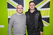 Forest Green Rovers Aaron Collins(10) with his kit sponsor during the EFL Sky Bet League 2 match between Forest Green Rovers and Carlisle United at the New Lawn, Forest Green, United Kingdom on 28 January 2020.
