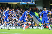Chelsea's Pedro tees up a shot during the The FA Cup third round match between Chelsea and Scunthorpe United at Stamford Bridge, London, England on 10 January 2016. Photo by Shane Healey.