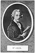 Thomas Augustine Arne (1710-1778) English composer. Engraving.