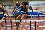 Mar 3, 3017; Albuquerque, NM, USA; Erica Bougard runs 8.21 in the pentathlon 60m hurdles for the top time during the USA Indoor Track and Field championships at the Albuquerque Convention Center.