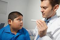 Doctor examining boy's eye balls