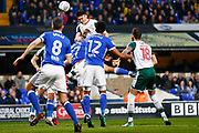 Barnsley striker Kieffer Moore (19) heads the ball at goal, best chance of the 1st half during the EFL Sky Bet Championship match between Ipswich Town and Barnsley at Portman Road, Ipswich, England on 10 April 2018. Picture by Phil Chaplin.