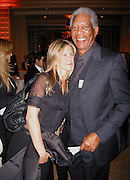 **EXCLUSIVE**.Jennifer Anniston & Morgan Freeman.Presidential Candidate Barack Obama Fundraiser, hosted by DreamWorks Movie moguls Steven Spielberg, David Geffen and Jeffrey Katzenberg.Beverly Hilton Hotel.Hollywood, California, USA.Tuesday, February 20, 2007.Photo by Celebrityvibe.com; .To license this image please call (212) 410 5354 ; or.Email: celebrityvibe@gmail.com ;