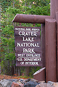 Park entrance sign, Crater Lake National Park, Oregon