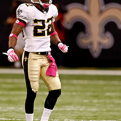 October 3, 2010; New Orleans, LA, USA; New Orleans Saints cornerback Tracy Porter (22) reacts after a defensive stop during a game against the Carolina Panthers at the Louisiana Superdome. The Saints defeated the Panthers 16-14. Mandatory Credit: Derick E. Hingle