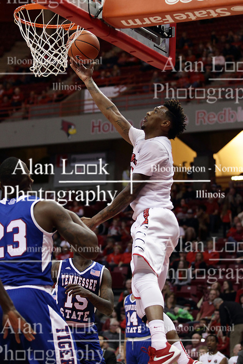 22 December 2015: Roland Griffin(35) pulls off a reverse layup with a baseline approach.  Illinois State Redbirds host the Tennessee State Tigers at Redbird Arena in Normal Illinois (Photo by Alan Look)