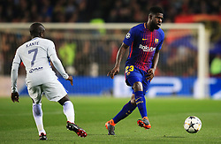 Samuel Umtiti of Barcelona and Ngolo Kante of Chelsea - Mandatory by-line: Matt McNulty/JMP - 14/03/2018 - FOOTBALL - Camp Nou - Barcelona, Catalonia - Barcelona v Chelsea - UEFA Champions League - Round of 16 Second Leg