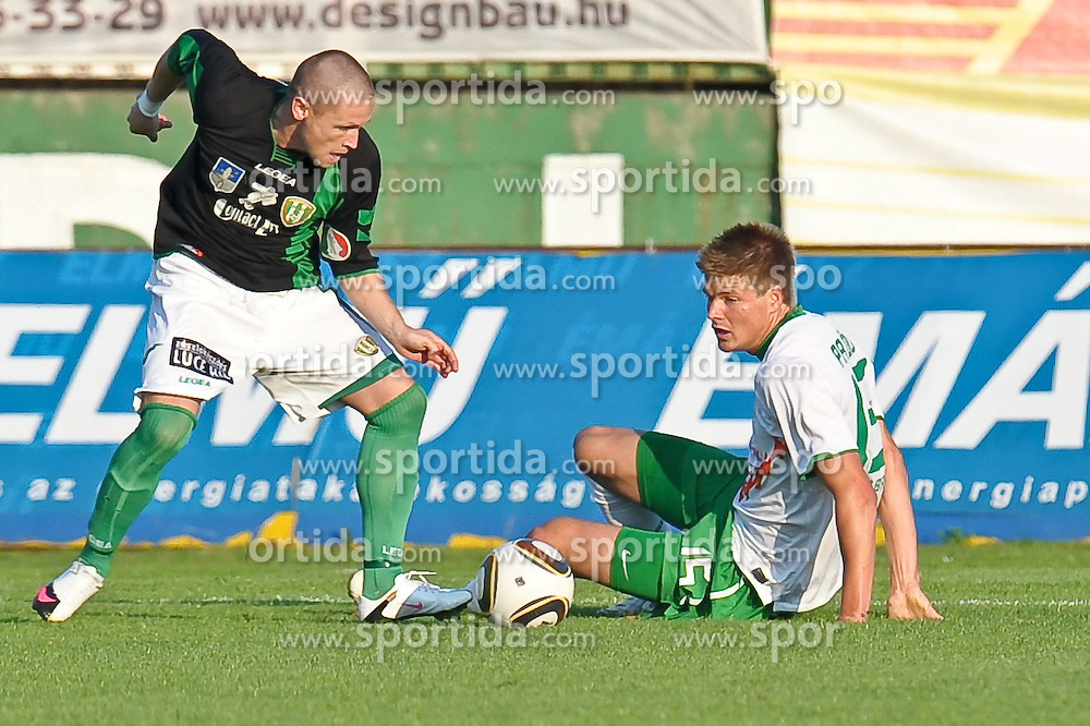 31.07.2010, Rohonci úti Stadion, Szombathelyi, HUN, Szombathelyi Haladás vs Werder Bremen, Friendly Match  1. FBL 2010  im Bild Marton Oross ( Haladás #09 ) gegen Sebastian Prödl / Proedl ( Werder #15)     EXPA Pictures © 2010, PhotoCredit: EXPA/ nph/  Kokenge+++++ ATTENTION - OUT OF GER +++++ / SPORTIDA PHOTO AGENCY
