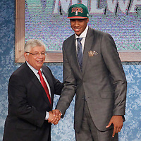 28 June 2012: John Henson, picked up by the Milwaukee Bucks, poses with David Stern during the 2012 NBA Draft, at the Prudential Center, Newark, New Jersey.