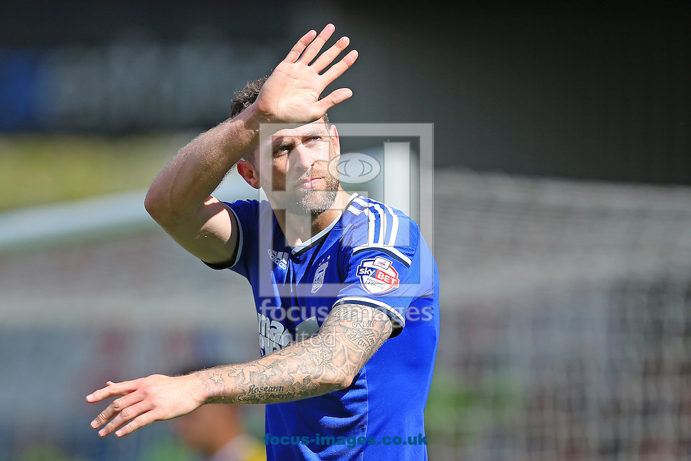 Daryl Murphy of Ipswich Town celebrates after scoring the opening goal of the Sky Bet Championship match against Nottingham Forest at Portman Road, Ipswich<br /> Picture by Richard Calver/Focus Images Ltd +44 7792 981244<br /> 25/04/2015