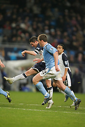 MANCHESTER, ENGLAND - WEDNESDAY, JANUARY 4th, 2006:Tottenham Hotspur's Robbie Keane scores the second goal against  Manchester City during the Premiership match at the City of Manchester Stadium. (Pic by David Rawcliffe/Propaganda)