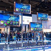 LAS VEGAS - JANUARY 11 : The Samsung booth at the CES show held in Las Vegas on January 11 2013 , CES is the world's leading consumer-electronics show and companies from all over the world come to show their latest technologies and products.