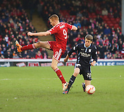 Dundee's Jim McAlister wronfoots Aberdeen&rsquo;s Adam Rooney -  Aberdeen v Dundee, SPFL Premiership at Pittodrie<br /> <br />  - &copy; David Young - www.davidyoungphoto.co.uk - email: davidyoungphoto@gmail.com