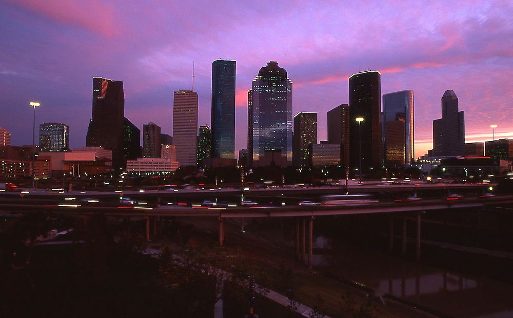 Houston, Texas skyline at sunset from Buffalo Bayou on the west side of town.