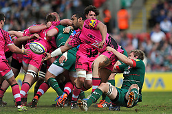 Chris Hala'ufia of London Welsh offloads the ball after being tackled by Jamie Gibson of Leicester Tigers - Photo mandatory by-line: Patrick Khachfe/JMP - Mobile: 07966 386802 25/04/2015 - SPORT - RUGBY UNION - Leicester - Welford Road - Leicester Tigers v London Welsh - Aviva Premiership