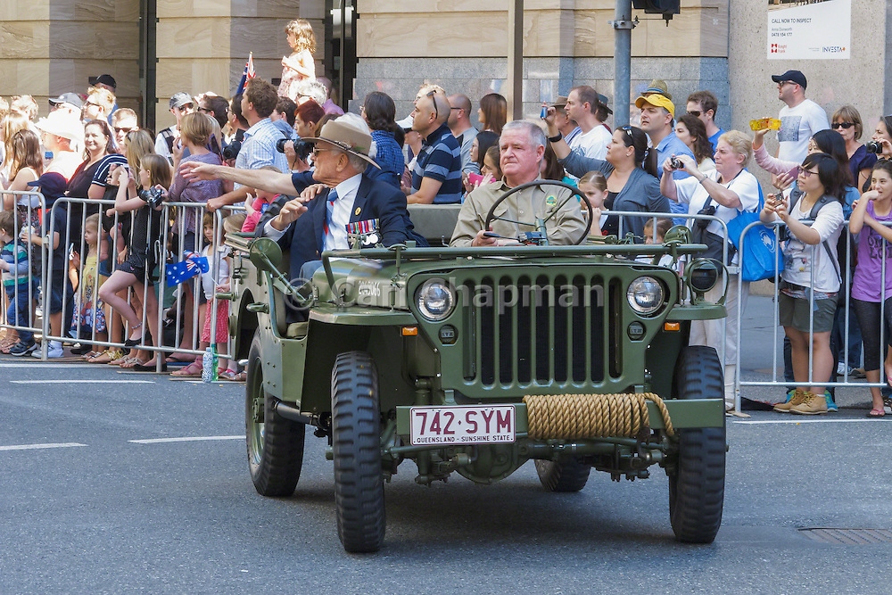 Veterans in jeep in Brisbane 2013 ANZAC day parade <br />