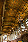 Coffered ceiling at University of Michigan Law LIbrary.