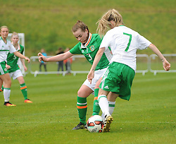 Kayla Brady Republic of Ireland and Rebecca McKenna Northern Ireland in action at the UEFA Women&rsquo;s U16 Tournament at United park Westport.<br /> Pic Conor McKeown