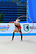 Liu Jiahui during qualifying at hoop in Pesaro World Cup at Adriatic Arena on 10 April 2015. Jiahu is a Chinese individual rhythmic gymnast  born March 31, 1996 in Handan, China.