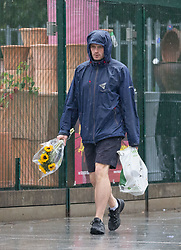 © Licensed to London News Pictures. 23/09/2018. London, UK.  A man walking in Walthamstow, north-east London during rain and wet weather this morning.  Photo credit: Vickie Flores/LNP