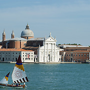 "VENICE, ITALY - JUNE 12:  A ""vela al terzo"" boat sails in front of St George Island ahead of the Regatta of the Ancient Maritime Republics on June 12, 2011 in Venice, Italy. The idea of the Regatta of the Ancient Maritime Republics was realized in 1955 and the first edition took place in Genova."