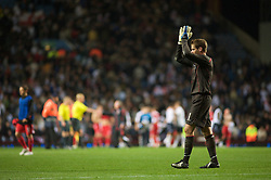 BIRMINGHAM, ENGLAND - Monday, October 13, 2008: Wales' goalkeeper Owain Fon Williams looks dejected after losing to England during the UEFA European Under-21 Championship Play-Off 2nd Leg match at Villa Park. (Photo by Gareth Davies/Propaganda)