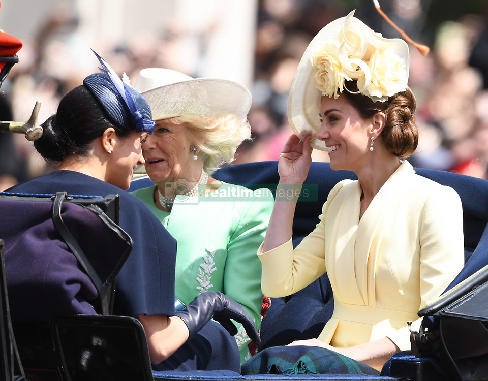 The Duchess of  Sussex, The Duchess of Cornwall and The Duchess of Cambridge attending Trooping The Colour, Buckingham Palace, London. Picture credit should read: Doug Peters/EMPICS