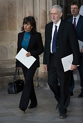 © Licensed to London News Pictures. 30/06/2016. London, UK. Labour Party Leader Jeremy Corbyn and his wife Laura Alvarez  leave Westminster Abbey after attending The Battle of the Somme Centenary Service and Vigil. An overnight vigil at the Grave of the Unknown Warrior will start tonight and end at 0730 tomorrow morning. Photo credit: Peter Macdiarmid/LNP