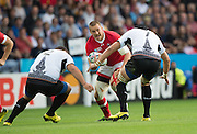 Leicester, Great Britain, Nick BLEVINS, going for the gap betweeen left Otar TURASHVILI and right, Viorel LUCACI. during the Pool D game, Canada vs Romania.  2015 Rugby World Cup,  Venue, Leicester City Stadium, ENGLAND.  Tuesday,   06.10.2015.   [Mandatory Credit; Peter Spurrier/Intersport-images]