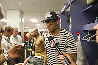 20 January 2013: Safety (38) Dashon Goldson of the San Francisco 49ers speaks to the media in the locker room after defeating the Atlanta Falcons 28-24 in the NFC Championship Game at the Georgia Dome in Atlanta, GA to go to Superbowl XLVII.