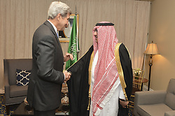 September 19, 2016 - New York, NY, United States of America - U.S Secretary of State John Kerry greets Saudi Crown Prince Mohammad bin Nayef, before their bilateral meeting at the Plaza Hotel September 19, 2016 in New York City. Both men are in New York for the United Nations General Assembly meeting. (Credit Image: © State Department/Planet Pix via ZUMA Wire)
