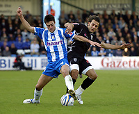 Photo: Olly Greenwood.<br />Colchester United v West Bromwich Albion. Coca Cola Championship. 20/10/2007. West Brom's Filepe Teixeira and Colchester's Kem Izzett
