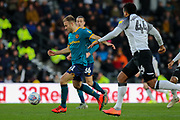 Hull City midfielder Herbie Kane strikes at goal during the EFL Sky Bet Championship match between Derby County and Hull City at the Pride Park, Derby, England on 18 January 2020.