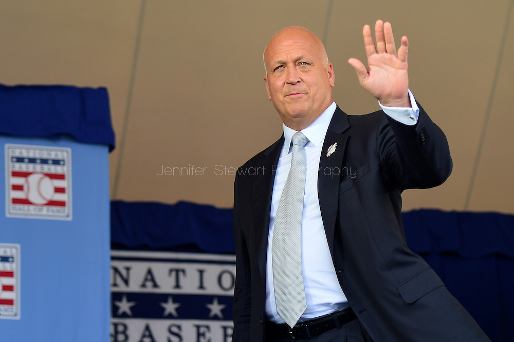 COOPERSTOWN, NY - JULY 26: Hall of Famer Cal Ripken Jr. waves while taking the stage during the Induction Ceremony at National Baseball of Hall of Fame on July 26, 2015 in Cooperstown, New York. (Photo by Jennifer Stewart/Arizona Diamondbacks/Getty Images)