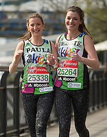 Virgin Money London Marathon 2015<br /> <br /> Guinness World Record attempt!<br /> Debbie Leeland and Paula Marshall from Yateley & Billingshurst in the UK attempting to break the World record for fastest Three legged Marathon.<br /> <br /> Photo: Bob Martin for Virgin Money London Marathon<br /> <br /> This photograph is supplied free to use by London Marathon/Virgin Money.
