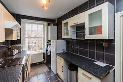 The modern kitchen in Antony Zomparelli's Islington flat, which he bought through Right-To-Buy in 2014, but has now been asked to pay more than twice the price after the council mistakenly sold it to him as a one bedroom flat, a small 8ft x 8ft box room being considered a second bedroom. London, February 04 2019.