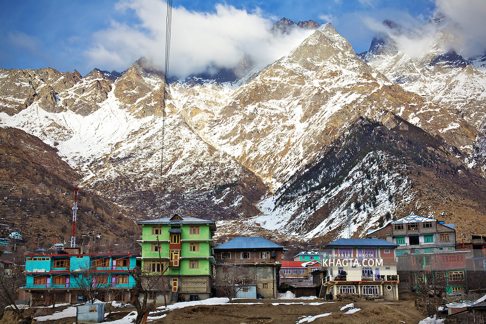 A view of Sangla down with the backdrop of The Great Himalayan Range