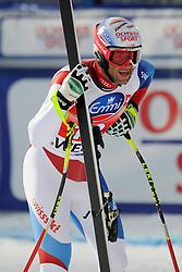 19.01.2013, Lauberhornabfahrt, Wengen, SUI, FIS Weltcup Ski Alpin, Abfahrt, Herren, im Bild Didier Defago im Ziel // reacts after his run of mens downhillrace of FIS Ski Alpine World Cup at the Lauberhorn downhill course, Wengen, Switzerland on 2013/01/19. EXPA Pictures © 2013, PhotoCredit: EXPA/ Freshfocus/ Urs Lindt..***** ATTENTION - for AUT, SLO, CRO, SRB, BIH only *****