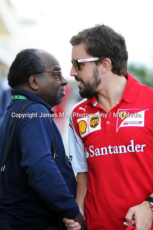 (L to R): Everett Souratt (USA) with Fernando Alonso (ESP) Ferrari.<br /> United States Grand Prix, Thursday 30th October 2014. Circuit of the Americas, Austin, Texas, USA.