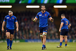 Yoann Maestri of France looks to calm his side down - Mandatory byline: Patrick Khachfe/JMP - 07966 386802 - 11/10/2015 - RUGBY UNION - Millennium Stadium - Cardiff, Wales - France v Ireland - Rugby World Cup 2015 Pool D.