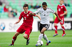 Konrad Budek of Poland vs Jeremy Dudziak of Germany during the UEFA European Under-17 Championship Semifinal match between Germany and Poland on May 13, 2012 in SRC Stozice, Ljubljana, Slovenia. Germany defeated Poland 1-0 and qualified to finals. (Photo by Vid Ponikvar / Sportida.com)